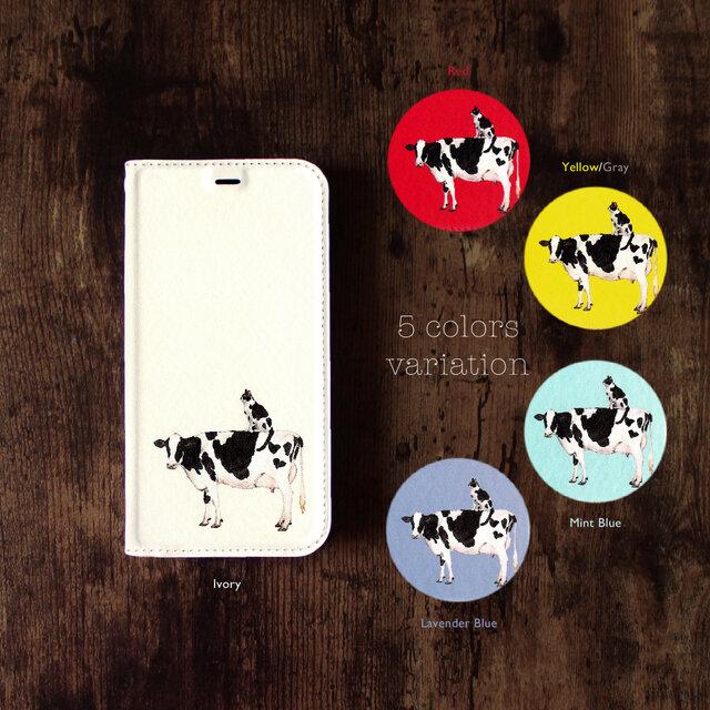 ★手帳型ケース★牛さんと牛柄ネコさん iPhone12Pro〜選択可能 iPhoneケースの画像1枚目