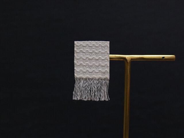 手織り三河木綿ピアス◎片耳◎●イヤリング変更可●ホワイト040【受注制作】の画像1枚目