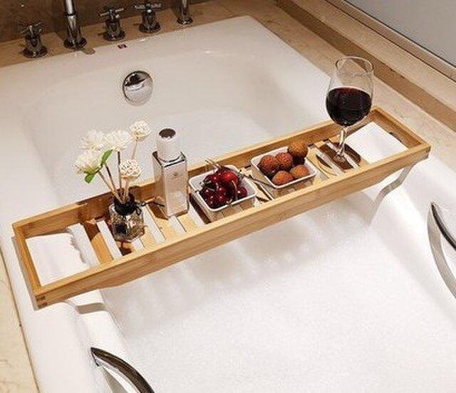 受注生産 職人手作り バスタブトレイ テーブル 半身浴 木目 木製雑貨 天然木 竹 お風呂 木工 エコ LR2018の画像1枚目
