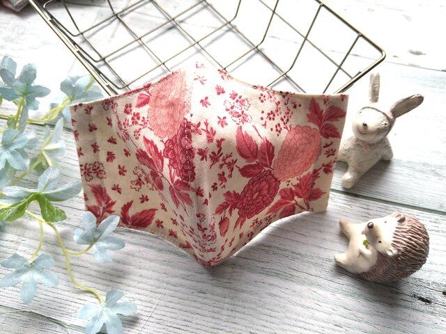 ✨『再販』送料無料✨生成りベース✕落ち着いた色合いのピンクのお花が優雅なマスクです✴の画像1枚目