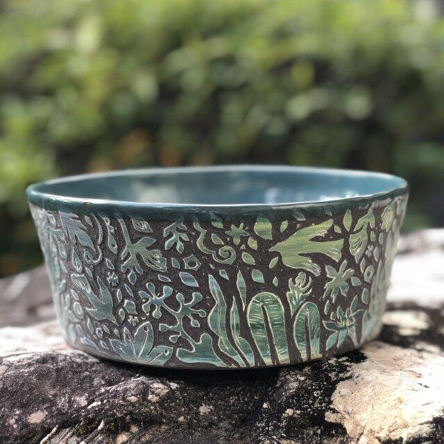 Kakiotoshi Large bowl - 二羽の鳥の画像1枚目
