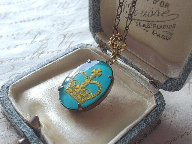 ヴィンテージ  Turquoise Blue-Crown(25×18㎜)Fowerクラシカルネックレスの画像1枚目