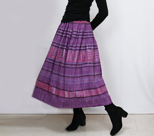 手織り綿絣ロングスカート、春萌ピンク、オールシーズンの画像1枚目
