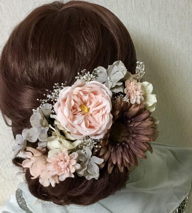 イングリッシュローズとガーベラのベーシック髪飾りの画像1枚目