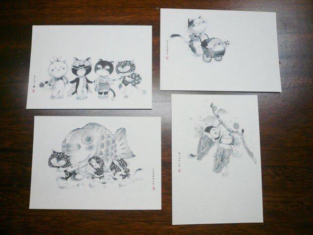 ポストカード『ははこねこ-ヒーロー編』4枚入の画像1枚目