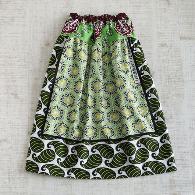 カンガのヨーク付きスカート|アフリカ布スカートの画像1枚目