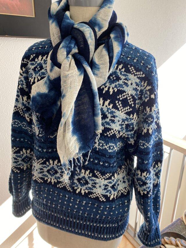 藍染め 編み込み模様 セーターの画像1枚目