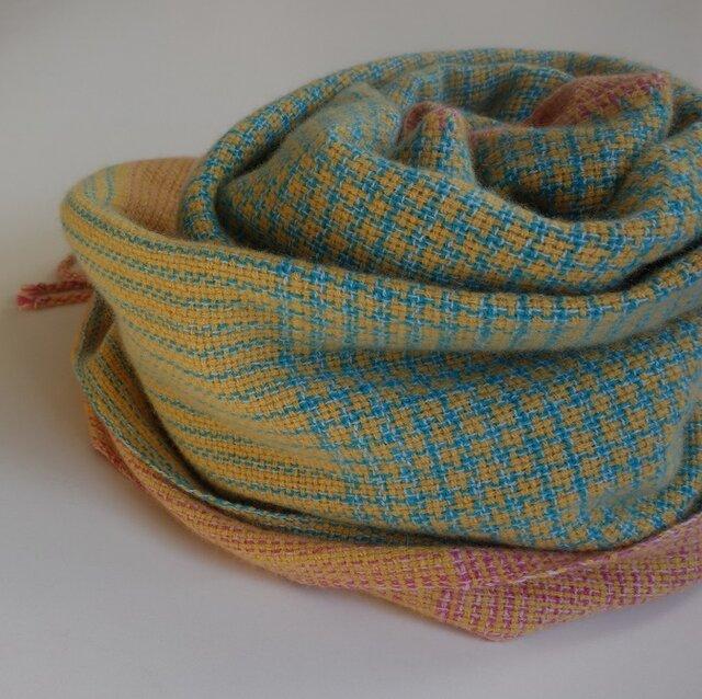 「Mさまご依頼品」手織りカシミアストール・・バーブシュカ(ブルー×ピンク)の画像1枚目