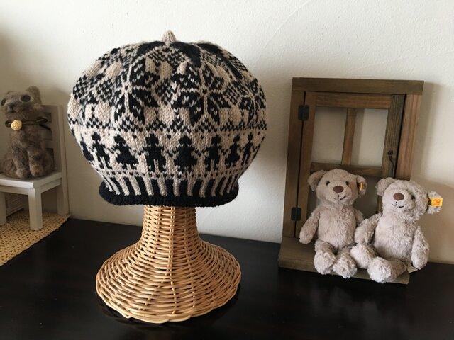 【スナさまオーダー品】北欧トラディショナルベレー帽大きめ【ノアール】の画像1枚目