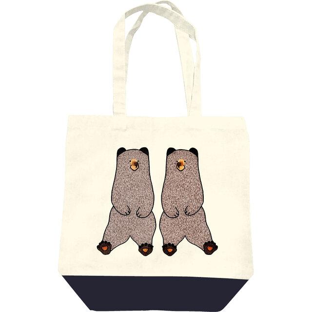 ヒグマのトートバッグ(M・白と紺)の画像1枚目