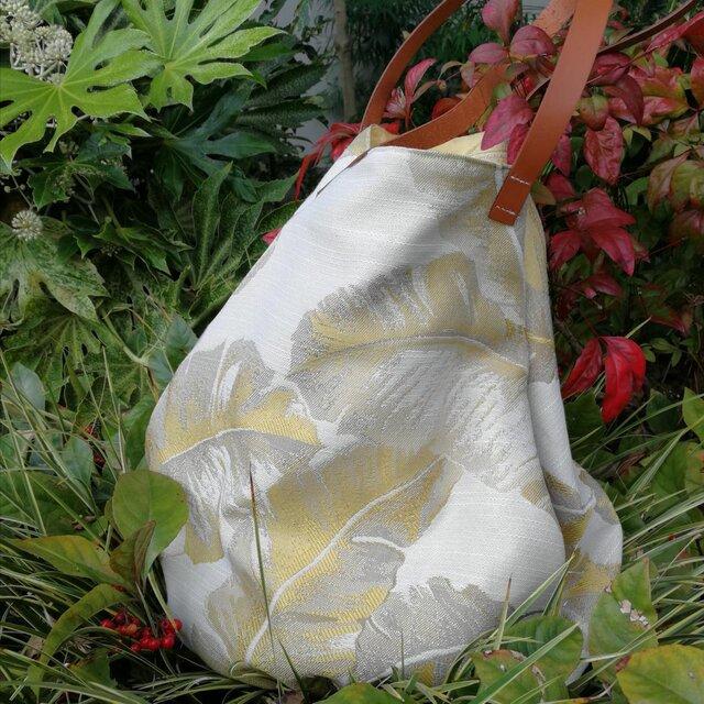 ゴールデン フェザー ラウンド トートバッグ いっさいがっさいまるっとバッグ 革持ち手☆ 国内から発送の画像1枚目