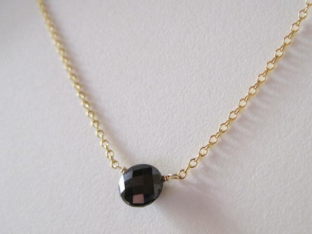 ブラックダイヤモンドのネックレス 14kgfの画像1枚目