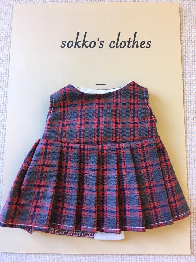 sokko's Dress 赤、グレー、黒のチェックワンピースの画像1枚目