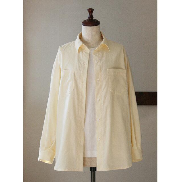ビッグシルエットのシャツ 春色コーデュロイ クリーム(M)の画像1枚目