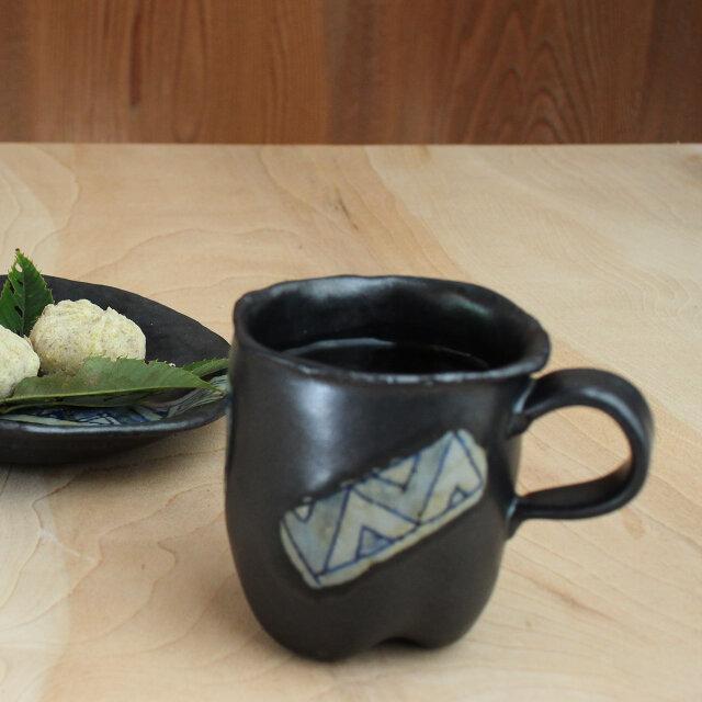 【黒釉・染付マグカップ】m87の画像1枚目