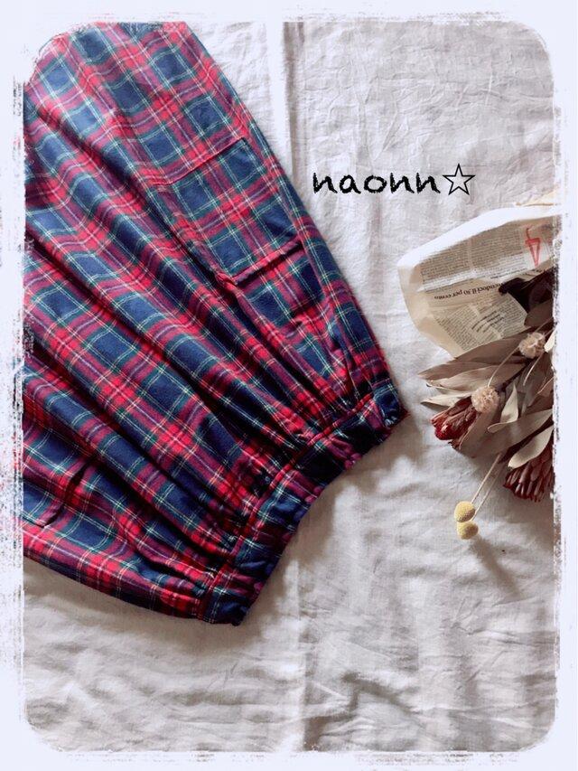 タータンチェックのギャザースカートの画像1枚目