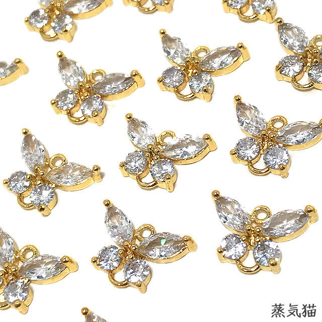 【コネクター】蝶々ジルコニアチャーム12mm 4個【蝶々ピアスパーツ イヤリング素材】の画像1枚目
