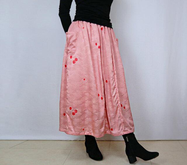 2点限定きものリメイク、正絹小紋ロングスカート裏地付き、オールシーズンの画像1枚目