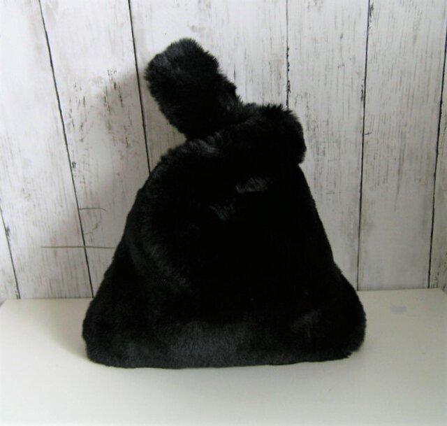 ¶ new antique fur ¶ エコバッグ型エコファーハンドバッグ◆ブラックの画像1枚目