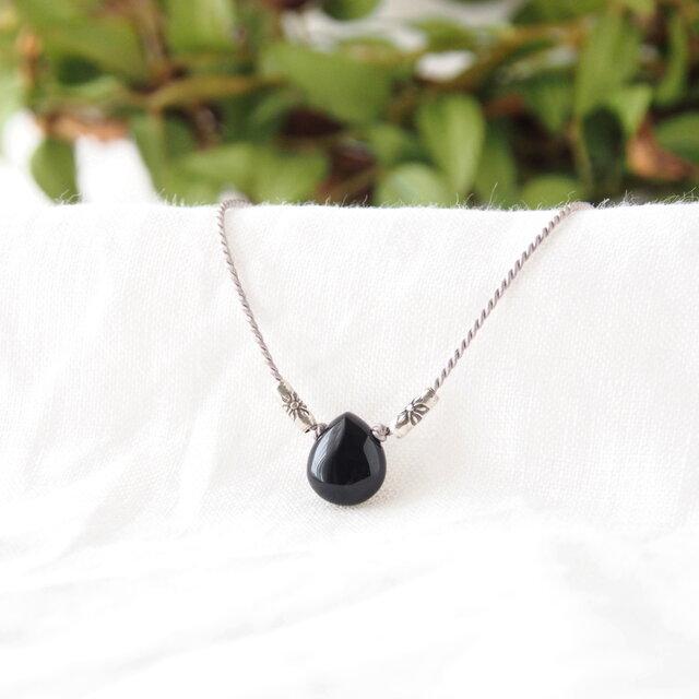 Black Pear Shaped Pendant(モリオン×カレンシルバー)の画像1枚目