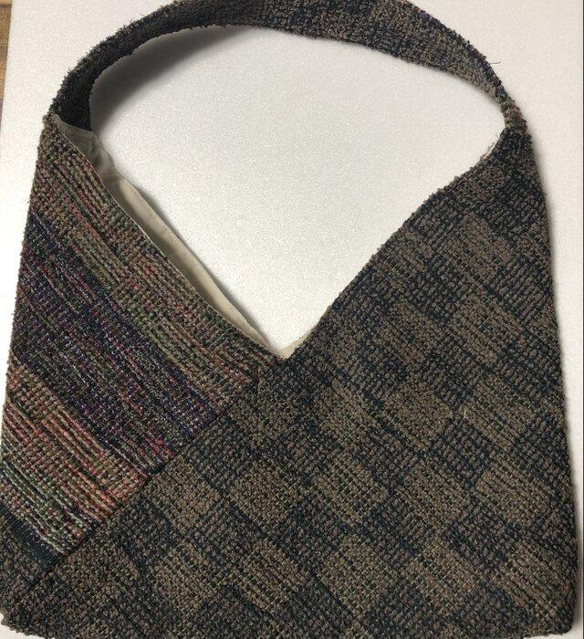 手織り あずま袋風バッグ♪の画像1枚目