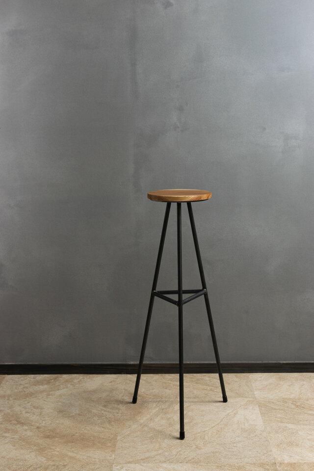 [無垢材とアイアンのスリムテーブル]  モダン ミニマル サイドテーブル 消毒液スタンド 花台 おしゃれの画像1枚目
