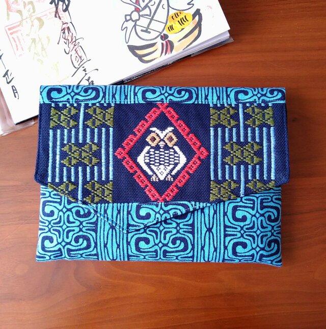 コタンコロカムイ御朱印帳袋(青系×紺)の画像1枚目
