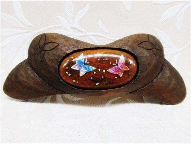 蝶をモチーフにして(七宝・木彫バレッタ)・IB-1123-1の画像1枚目