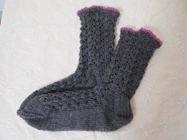 手編み靴下 wool100% グレー×パープルの画像1枚目