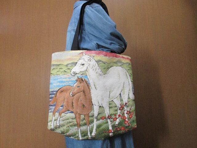 ゴブラン織り A4 トートバッグ 馬の画像1枚目