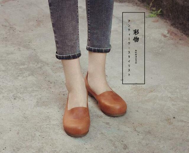 【受注製作】ぺたんこ丸トウ 手製裁縫牛革レザーパンプス 靴 茶色 DKT73の画像1枚目