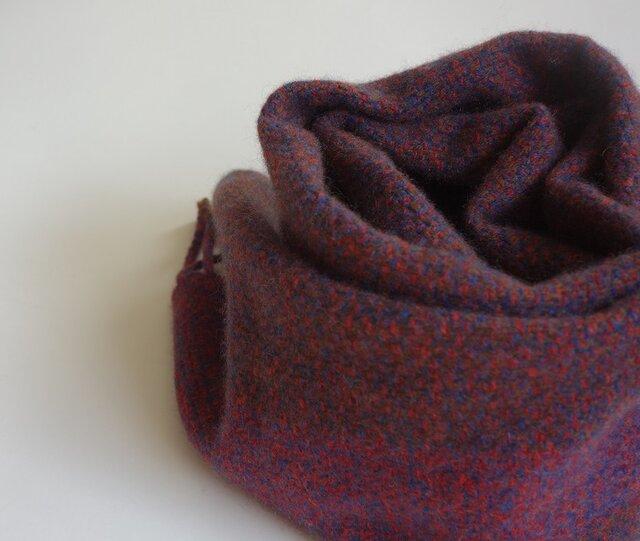 手織りカシミアマフラー・・レンガ色のワンストライプの画像1枚目