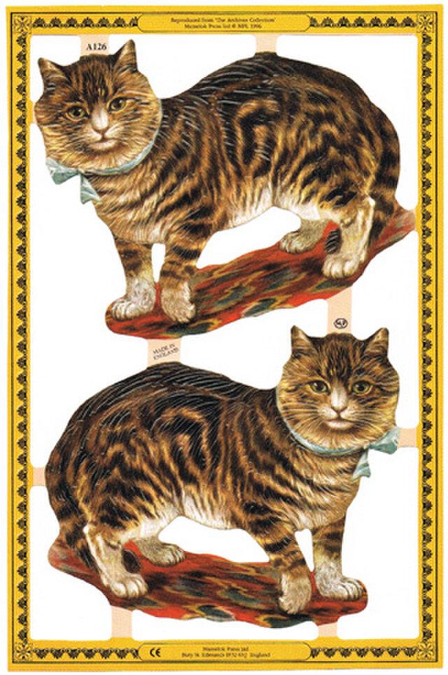 イギリス製クロモス 空色リボンの猫 ラメなし DA-CHE001の画像1枚目
