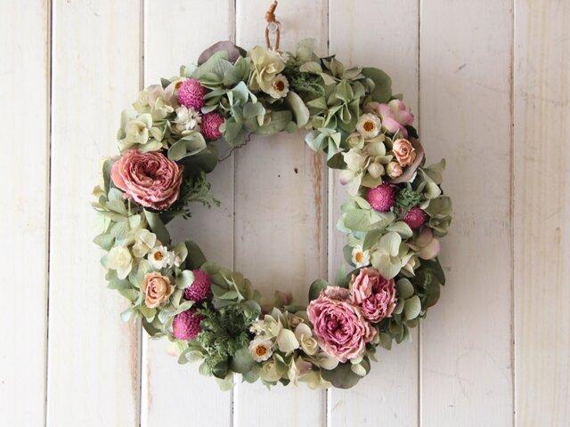 ピンクのバラの春リースの画像1枚目