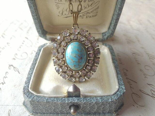 アンティーク Turquoise/Clear-Paste(34×27㎜)luxury ネックレスの画像1枚目