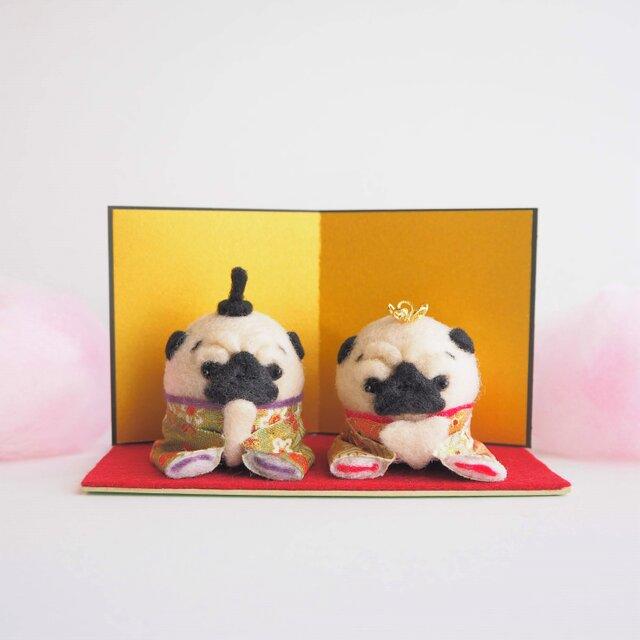 【数量限定】ひなまつり ~桃の節句~ まゆパグ(フォーン・黒)の雛人形セット 和柄タイプ 羊毛フェルト※受注製作の画像1枚目