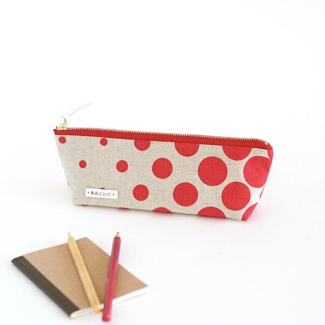 バブルドットのマチ付きペンケース(赤リネン×赤帆布)の画像1枚目