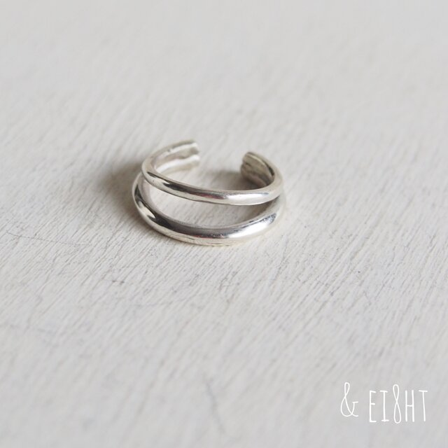 【再販】- Silver - W Ear Cuffの画像1枚目