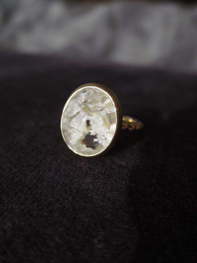 K18 White garden Quartz Ring の画像1枚目