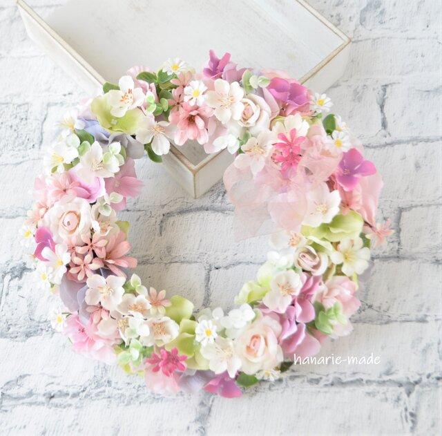 うす桃色 さくらと小さなバラのリース:さくら バラ ピンク 春 リボンの画像1枚目