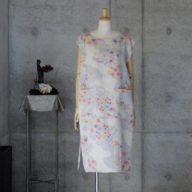着物リメイク チュニックワンピ/フリーサイズ  フレンチ袖の画像1枚目