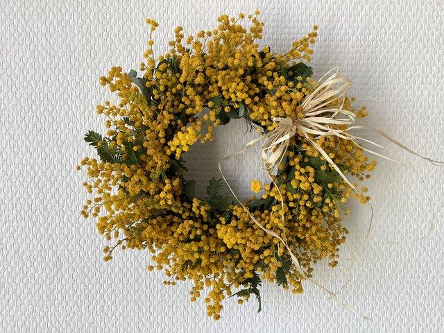 atelierBLUGRA八ヶ岳〜simpleミモザのWreath21-1の画像1枚目