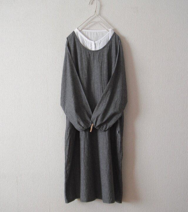 綿麻のかっぽう着 黒の画像1枚目
