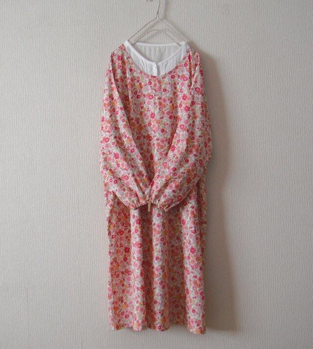 木綿のかっぽう着 ピンク小花の画像1枚目