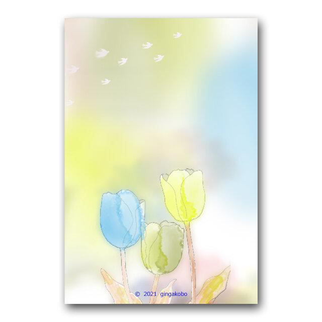 「春のヒカリが心の栞」春 チューリップ 鳥 ほっこり癒しのイラストポストカード2枚組 No.1296の画像1枚目
