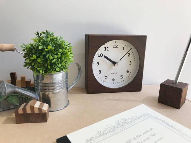 KATOMOKU dual use clock 4 ブラウン km-95BRC 電波時計の画像1枚目