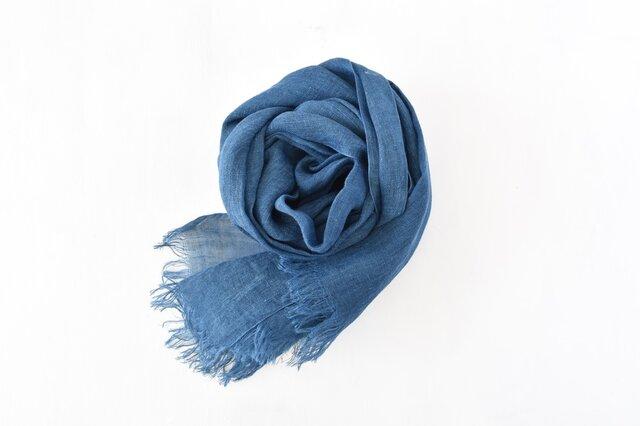 藍染めストール|国産リネンガーゼのストール《インディゴブルー》の画像1枚目