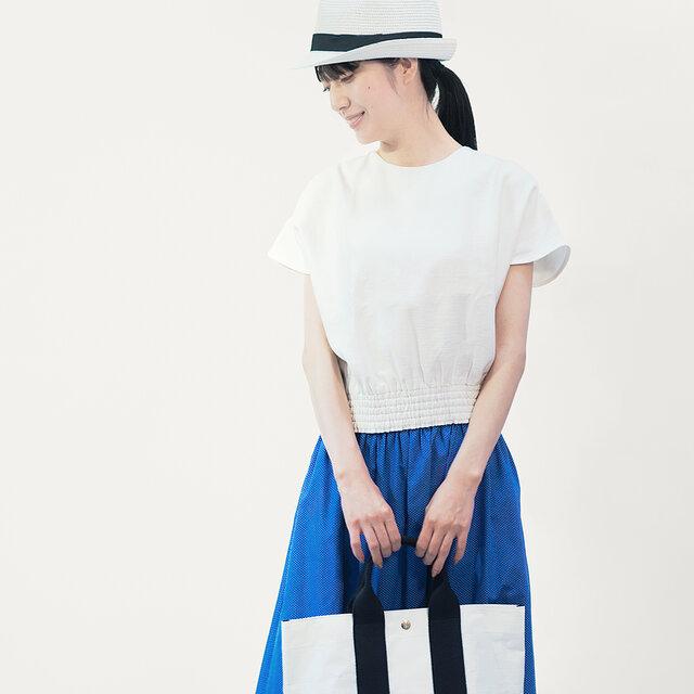 年間OK! マリンブルー ドット コットン ロングスカート ●STELLA-MARIN BLUE●の画像1枚目