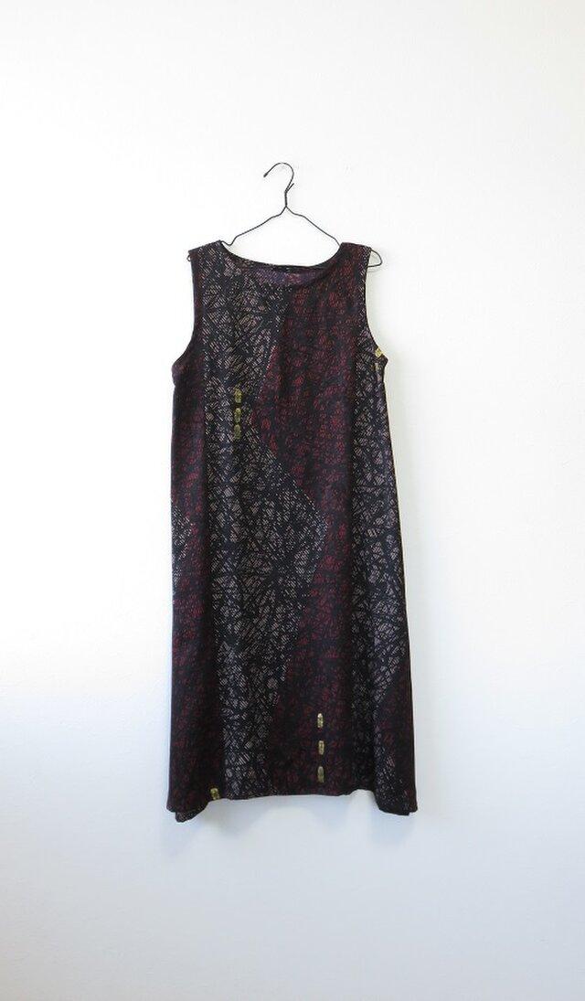 *アンティーク着物*抽象模様錦紗のワンピース(Lサイズ)の画像1枚目