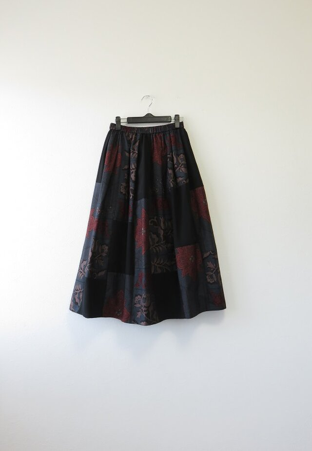 *アンティーク着物*泥大島紬のパッチスカート(青系・裏地付き・5マルキ)の画像1枚目